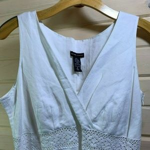 New York & Company NWT White Linen-Blend Dress 8